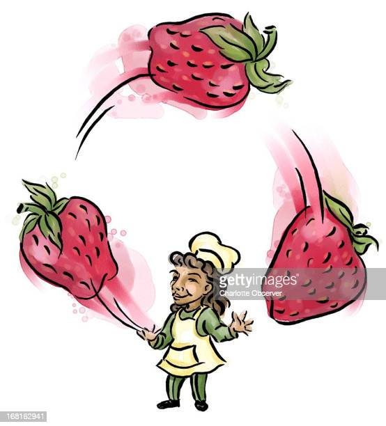 Brenda Pinnell color illustration of chef juggling strawberries