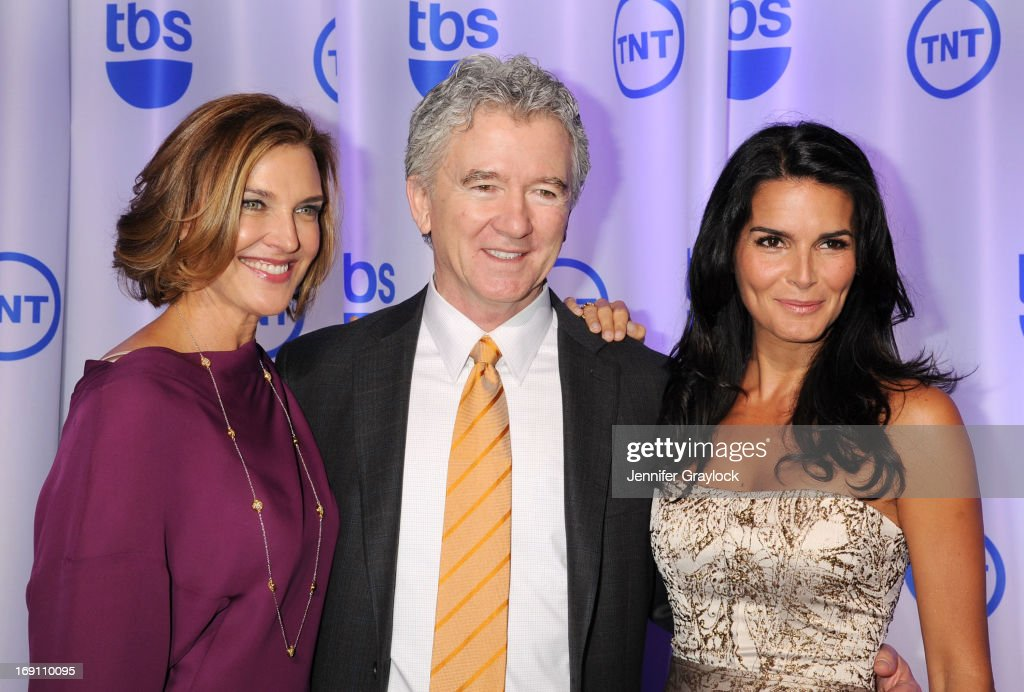 Brenda Strong, Patrick Duffy and Angie Harmon attend the 2013 TNT/TBS Upfront presentation at Hammerstein Ballroom on May 15, 2013 in New York City.