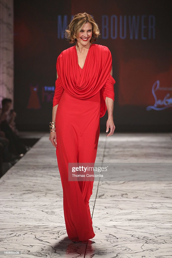 Brenda Strong wearing Marc Bouwer walks the runway at The Heart Truth's Red Dress Collection during Fall 2013 Mercedes-Benz Fashion Week at Hammerstein Ballroom on February 6, 2013 in New York City.