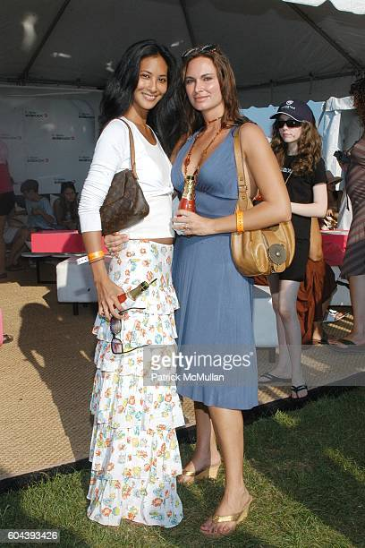 Brenda Versoza and Stefany Di Manno attend T Mobile SIDEKICK 3 Lounge at MercedesBenz Polo Challenge at Bridgehampton Polo Club on August 5 2006