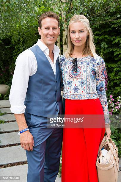 Brendan Cole and Zoe Hobbs attend Chelsea Flower Show press day at Royal Hospital Chelsea on May 23 2016 in London England