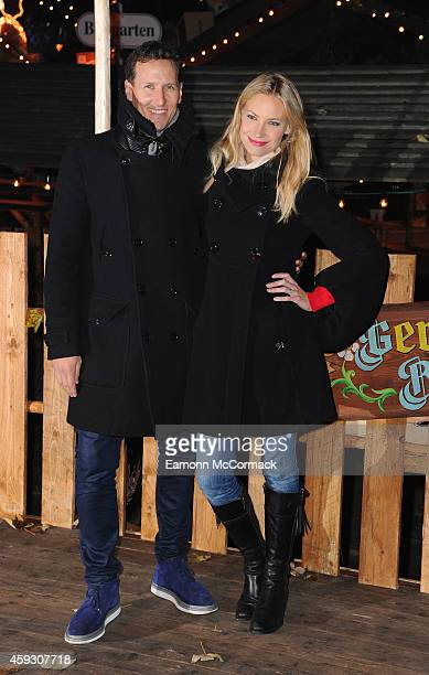 Brendan Cole and Zoe Hobbs attend the Winter Wonderland VIP opening at Hyde Park on November 20 2014 in London England