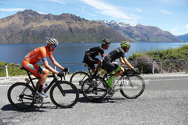 Brendan Cole of Australia leads the breakawy group round the Devil's staircase towards Coronet Peak from Mossburn during stage three of the 2016 Tour...