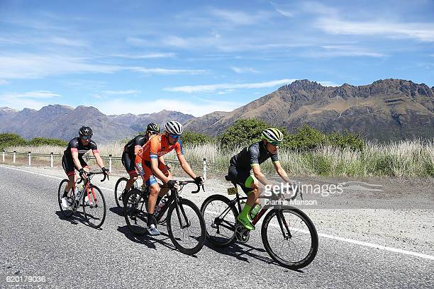 Brendan Cole of Australia leads the breakawy group towards Coronet Peak from Mossburn during stage three of the 2016 Tour of Southland on November 02...
