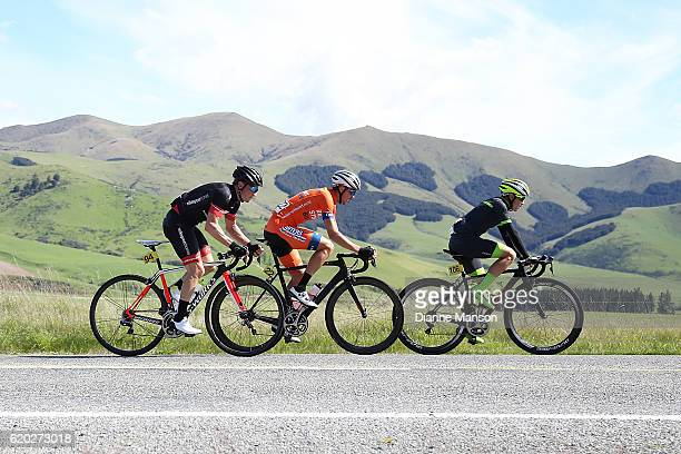 Brendan Cole of Australia Nick Miller of Auckland and Tim Rush of Oamaru head towards Coronet Peak from Mossburn during stage three of the 2016 Tour...