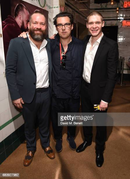 Brendan Cowell Joe Wright and Billy Howle attend the press night after party for 'Life of Galileo' in The Cut Bar at The Young Vic on May 16 2017 in...