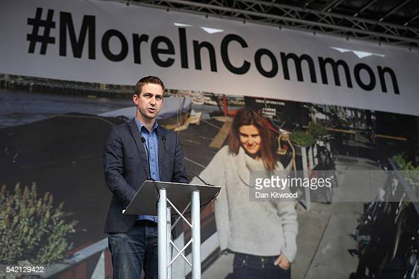Brendan Cox husband of Jo Cox delivers a speech during 1a memorial event for murdered Labour MP Jo Cox at Trafalger Square on June 22 2016 in London...