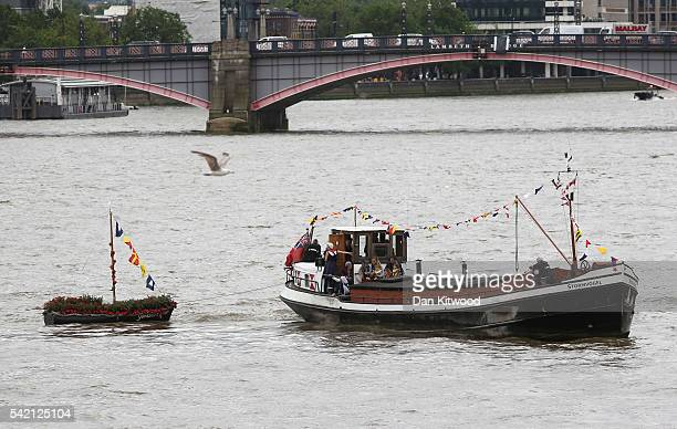 Brendan Cox husband of murdered Labour MP Jo Cox and their children ride on a boat towing a memorial dedicated to Jo Cox down the River Thames on...