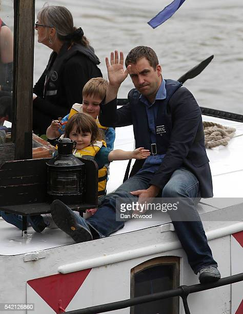 Brendan Cox husband of murdered Labour MP Jo Cox and their children Cuillin Cox and Lejla Cox ride on the boat towing a memorial dedicated to Jo Cox...