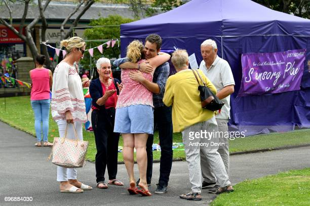 Brendan Cox husband of murdered MP Jo Cox is greeted by friends as he arrives at a Great Get Together event in on June 17 2017 in Heckmondwike...