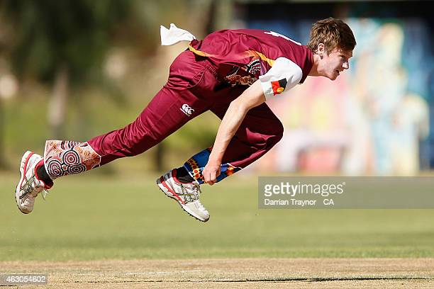 Brendan Doggett of Queensland bowls against Tasmania during the 20415 Imparja Cup on February 9 2015 in Alice Springs Australia