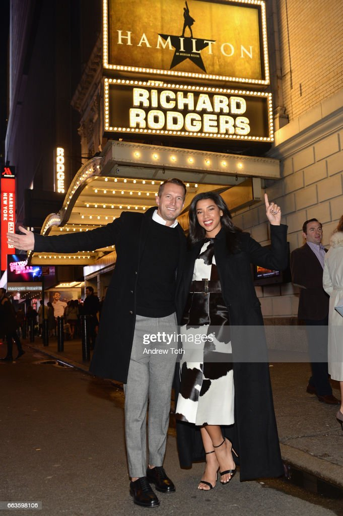 Brendan Fallis (L) and DJ Hannah Bronfman attends the American Express Celebrates The New Platinum Card With Hamilton Takeover Experience on April 1, 2017 in New York City.