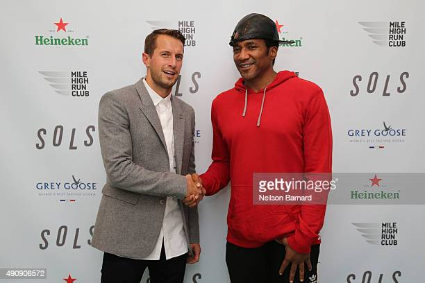 Brendan Fallis and DJ/Producer QTip attend the SOLS launch party for the new SOLS Flex on October 1 2015 in New York City SOLS Flex are bespoke...