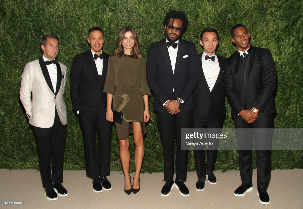 Brendan Fallis, Dao-yi Chow, Andrea Diaconu, Maxwell Osborne, Alan Mak, and Victor Cruz attend CFDA and Vogue 2013 Fashion Fund Finalists Celebration at Spring Studios on November 11, 2013 in New York City.