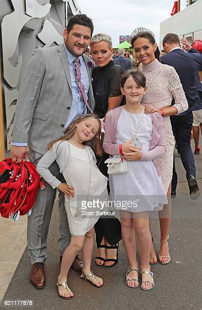 Brendan Fevola Alex Fevola and their children Mia Fevola Leni Fevola and Lulu Fevola attend on Stakes Day at Flemington Racecourse on November 5 2016...