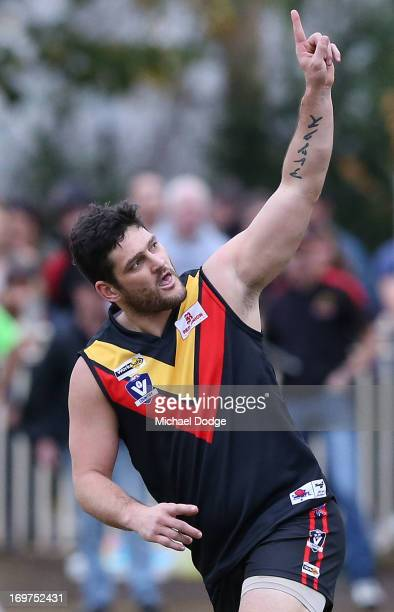 Brendan Fevola of Bacchus Marsh celebrates a goal during the round six BFL match between Bacchus Marsh and Sunbury at Maddingley Park on June 1 2013...
