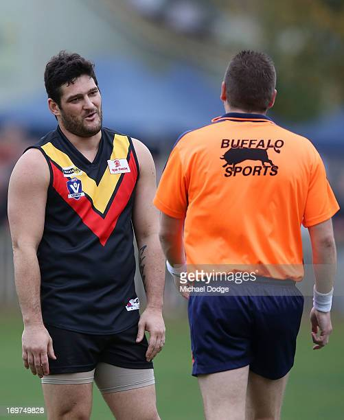 Brendan Fevola of Bacchus Marsh reacts after getting an umpire gives a free kick against him during the round six BFL match between Bacchus Marsh and...