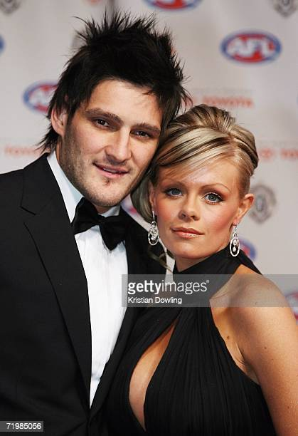 Brendan Fevola of the Carlton Blues and his wife Alex Fevola arrive for the 2006 AFL Brownlow Medal Dinner at Crown Casino September 25 2006 in...