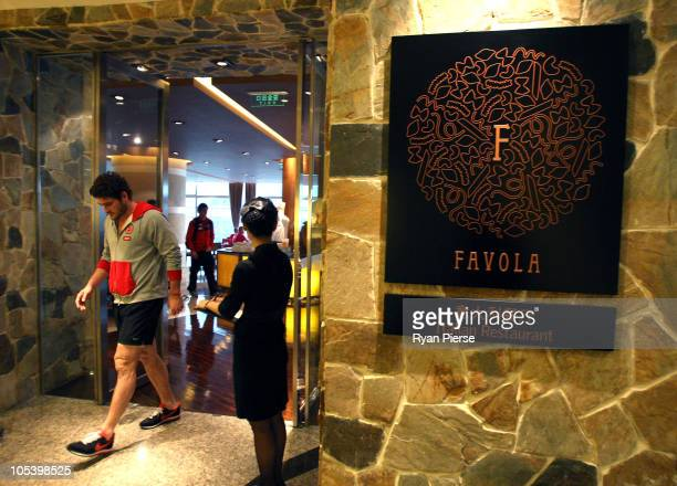 Brendan Fevola of the Lions leaves the team breakfast room the Favola Italian Restraunt in Le Royal Meridian Hotel on October 14 2010 in Shanghai...