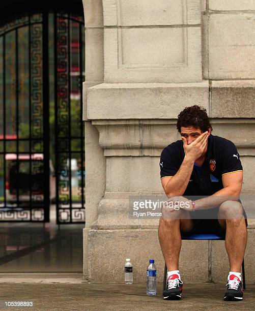 Brendan Fevola of the Lions looks on during training at Jiangwan Sports Centre on October 14 2010 in Shanghai China The Melbourne Demons will play...