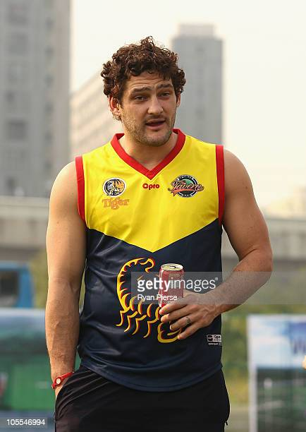 Brendan Fevola of the Lions wearing a Guangzhou Scorpions jumper looks on during the Asian Cup Tournament on October 16 2010 in Shanghai China The...