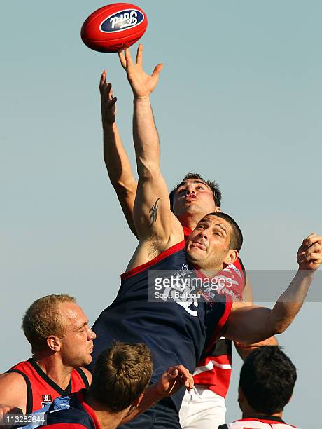 Brendan Fevola of the Scorpions competes for the ball during the round five VFL mtch between the Casey Scorpions and Frankston at Casey Fields on...