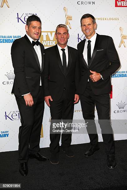 Brendan Fevola Shane Warne and Paul Harragon arrive at the 58th Annual Logie Awards at Crown Palladium on May 8 2016 in Melbourne Australia