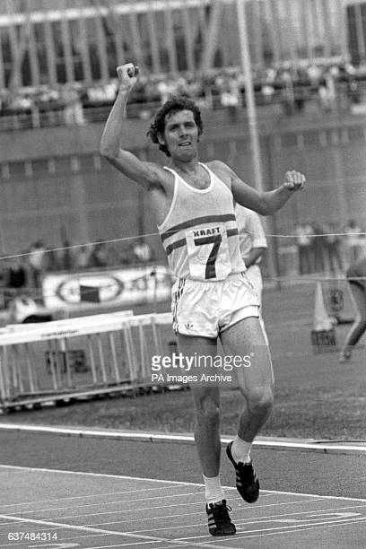 Brendan Foster celebrates breaking the tape after his superlative performance in the 10000 metres