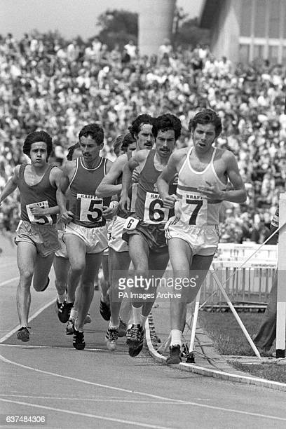 Brendan Foster of Gateshead leading the field in the Men's 10000 metres which he went on to win Ian Stewart pulled up injured