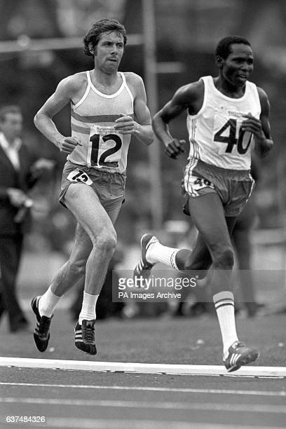 Brendan Foster on his way to winning the men's 10000 metres from Kenya's Joshua Kimeto
