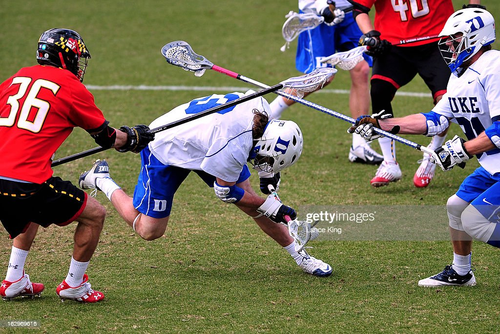 Brendan Fowler #3 of the Duke Blue Devils loses his footing during a game against the Maryland Terrapins at Koskinen Stadium on March 2, 2013 in Durham, North Carolina. Maryland defeated Duke 16-7.