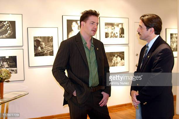 Brendan Fraser and Sergeant Rory Capra during Brendan Fraser Donation to the New York Police and Fire Departments at Leica Camera Center in New York...