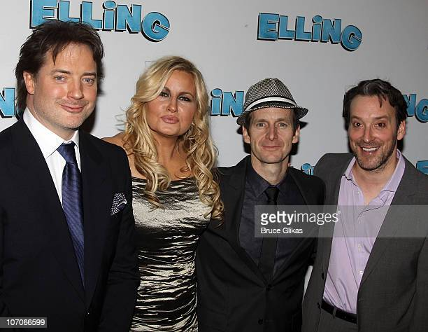 Brendan Fraser Jennifer Coolidge Denis O'Hare and Jeremy Shamos pose at Opening Night After Party for 'Elling' on Broadway at The Soho House on...