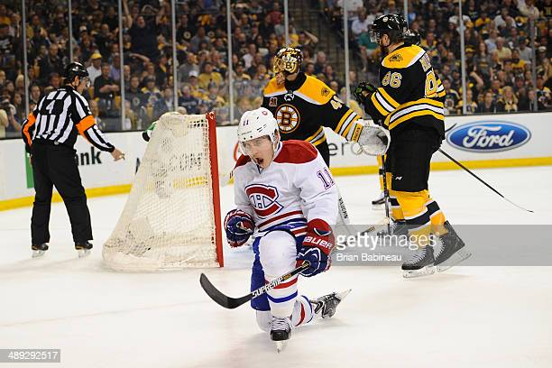 Brendan Gallagher of the Montreal Canadiens celebrates a goal against the Boston Bruins in Game Five of the Second Round of the 2014 Stanley Cup...