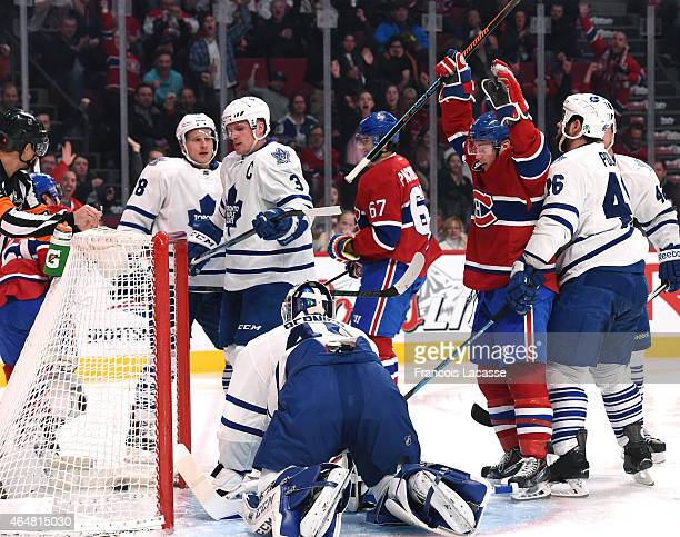 Brendan Gallagher of the Montreal Canadiens celebrates after a goal against the Toronto Maple Leafs in the NHL game at the Bell Centre on February 28...