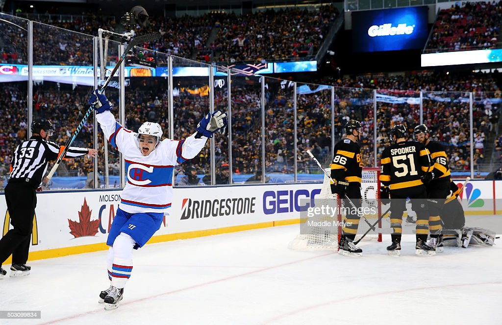 <a gi-track='captionPersonalityLinkClicked' href=/galleries/search?phrase=Brendan+Gallagher&family=editorial&specificpeople=3704208 ng-click='$event.stopPropagation()'>Brendan Gallagher</a> #11 of the Montreal Canadiens celebrates after scoring his team's third goal against the Boston Bruins in the second period during the 2016 Bridgestone NHL Winter Classic at Gillette Stadium on January 1, 2016 in Foxboro, Massachusetts.