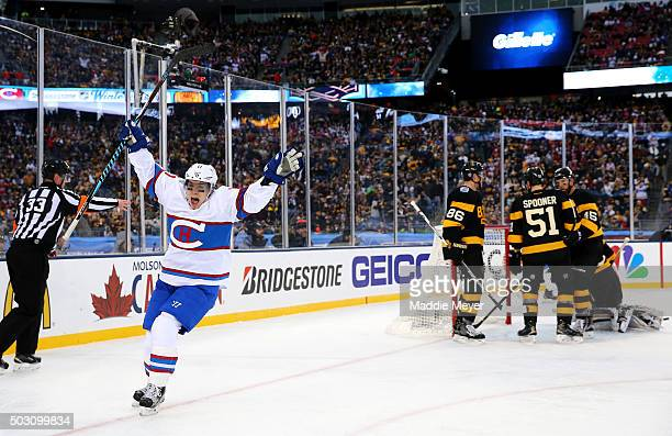 Brendan Gallagher of the Montreal Canadiens celebrates after scoring his team's third goal against the Boston Bruins in the second period during the...