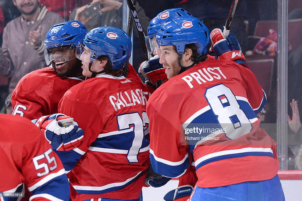 Brendan Gallagher #73 of the Montreal Canadiens celebrates his first period goal with teammates during the NHL game against the Buffalo Sabres at the Bell Centre on February 2, 2013 in Montreal, Quebec, Canada. The Canadiens defeated the Sabres 6-1.