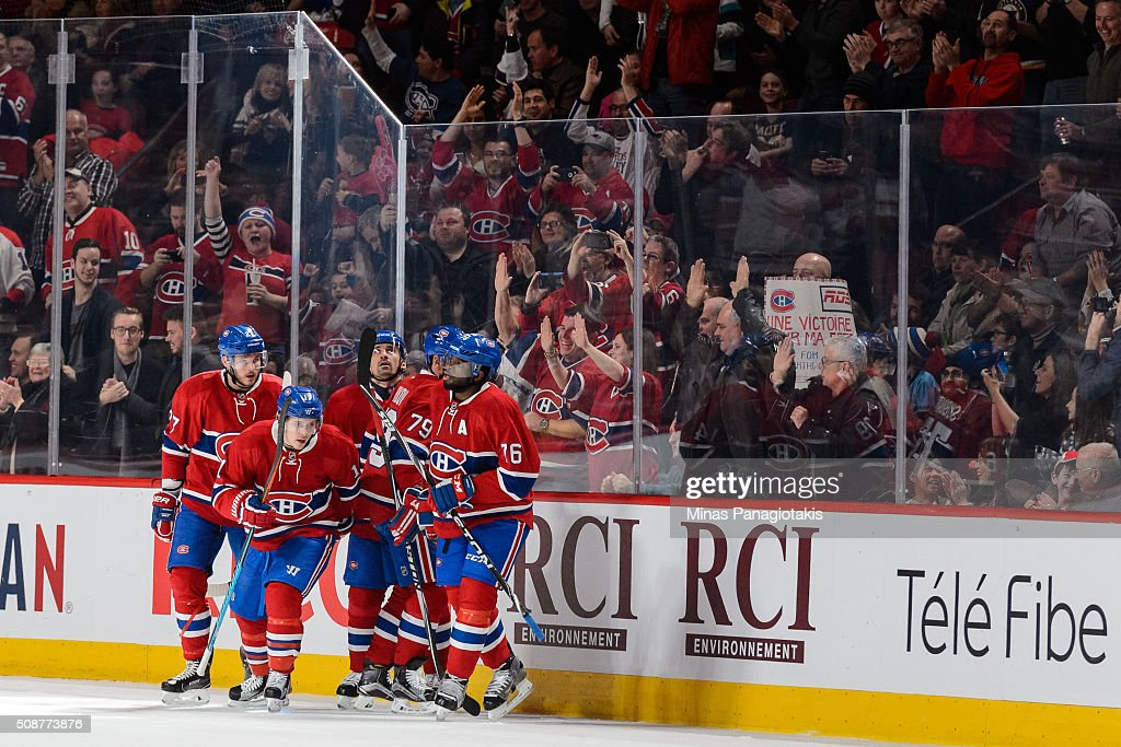 <a gi-track='captionPersonalityLinkClicked' href=/galleries/search?phrase=Brendan+Gallagher&family=editorial&specificpeople=3704208 ng-click='$event.stopPropagation()'>Brendan Gallagher</a> #11 of the Montreal Canadiens celebrates his goal with teammates during the NHL game against the Edmonton Oilers at the Bell Centre on February 6, 2016 in Montreal, Quebec, Canada.