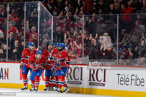 Brendan Gallagher of the Montreal Canadiens celebrates his goal with teammates during the NHL game against the Edmonton Oilers at the Bell Centre on...