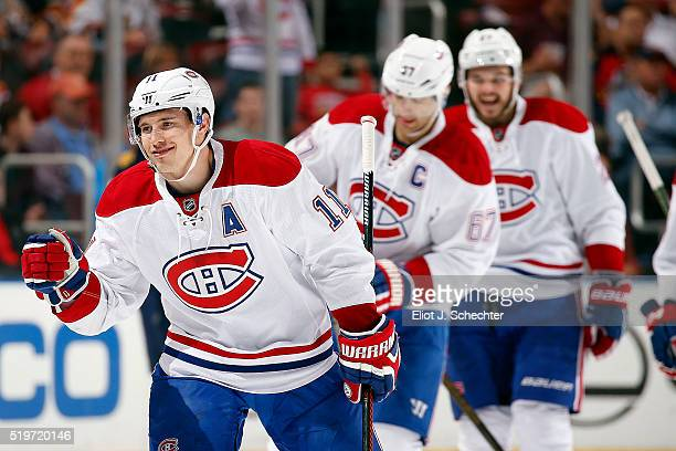 Brendan Gallagher of the Montreal Canadiens celebrates his goal with teammates during the first period against the Florida Panthers at the BBT Center...
