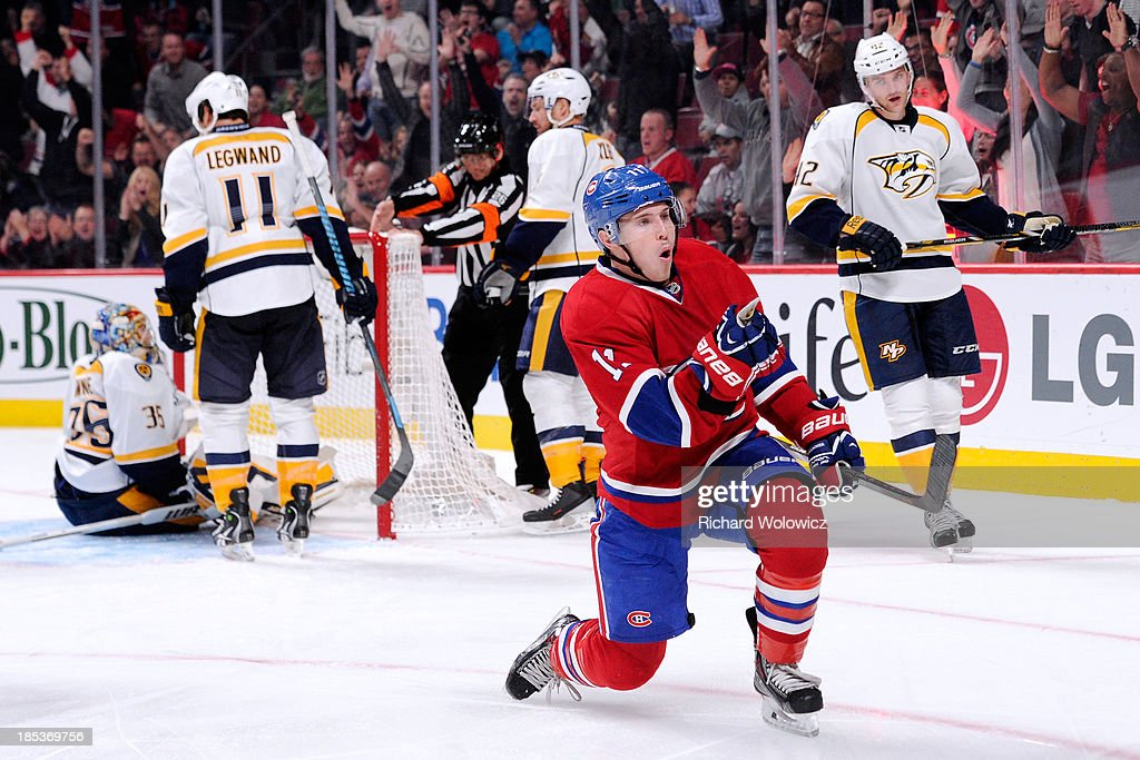<a gi-track='captionPersonalityLinkClicked' href=/galleries/search?phrase=Brendan+Gallagher&family=editorial&specificpeople=3704208 ng-click='$event.stopPropagation()'>Brendan Gallagher</a> #11 of the Montreal Canadiens celebrates his second period goal during the NHL game against the Nashville Predators at the Bell Centre on October 19, 2013 in Montreal, Quebec, Canada.