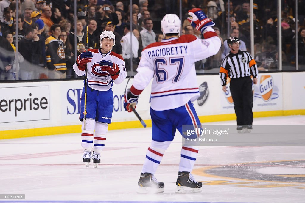 <a gi-track='captionPersonalityLinkClicked' href=/galleries/search?phrase=Brendan+Gallagher&family=editorial&specificpeople=3704208 ng-click='$event.stopPropagation()'>Brendan Gallagher</a> #11 of the Montreal Canadiens celebrates his shoot out goal against the Boston Bruins at the TD Garden on March 27, 2013 in Boston, Massachusetts.