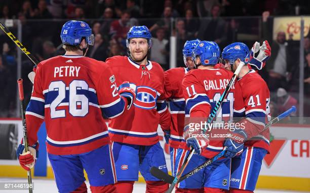 Brendan Gallagher of the Montreal Canadiens celebrates with teammates after scoring a goal against of the Vegas Golden Knights in the NHL game at the...