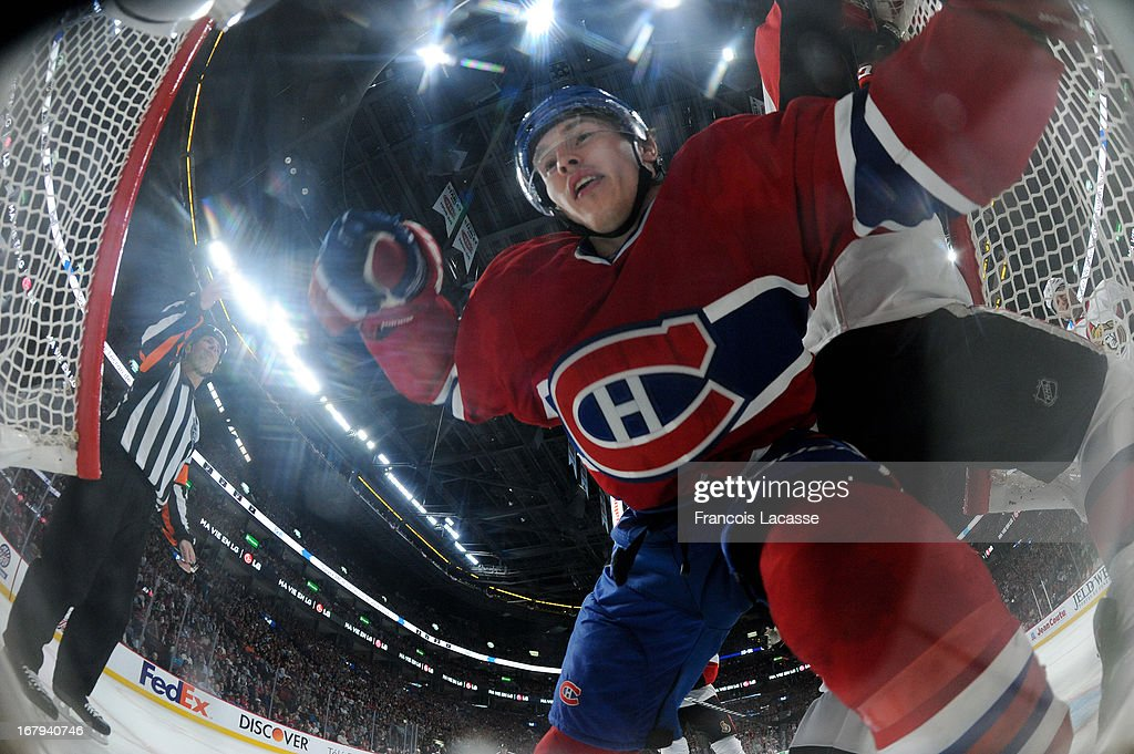 <a gi-track='captionPersonalityLinkClicked' href=/galleries/search?phrase=Brendan+Gallagher&family=editorial&specificpeople=3704208 ng-click='$event.stopPropagation()'>Brendan Gallagher</a> #11 of the Montreal Canadiens ends a play inside the goal in Game One of the Eastern Conference Quarterfinals against the Ottawa Senators during the 2013 NHL Stanley Cup Playoffs at the Bell Centre on May 2, 2013 in Montreal, Quebec, Canada.