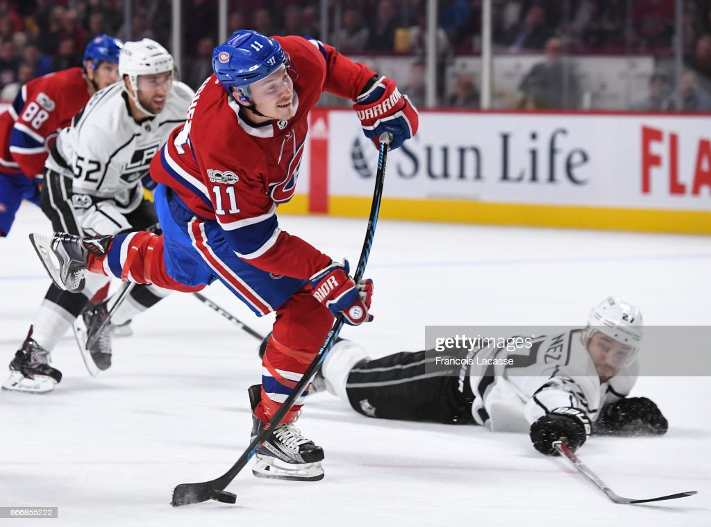 Brendan Gallagher #11 of the Montreal Canadiens fires a slap shot against the Los Angeles Kings in the NHL game at the Bell Centre on October 26, 2017 in Montreal, Quebec, Canada.