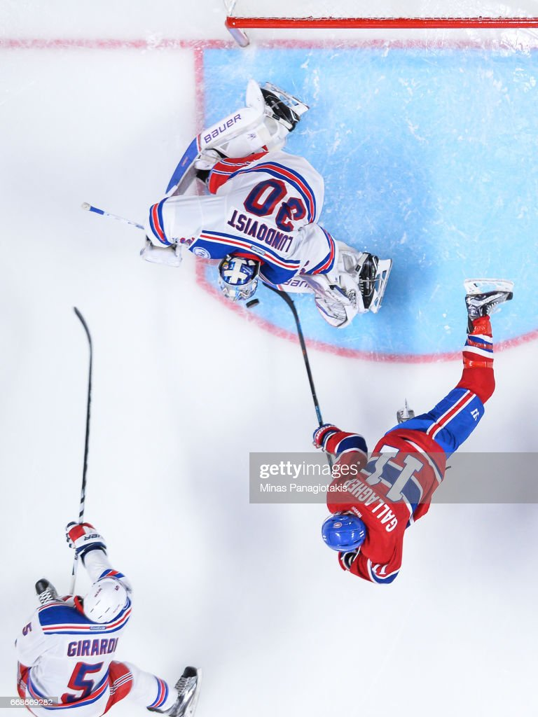 Brendan Gallagher #11 of the Montreal Canadiens gets a shot on goaltender Henrik Lundqvist #30 of the New York Rangers in Game Two of the Eastern Conference First Round during the 2017 NHL Stanley Cup Playoffs at the Bell Centre on April 14, 2017 in Montreal, Quebec, Canada. The Montreal Canadiens defeated the New York Rangers 4-3 in overtime.