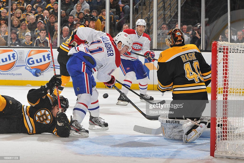Brendan Gallagher #11 of the Montreal Canadiens handles the puck in front of the net against the Boston Bruins at the TD Garden on March 3, 2013 in Boston, Massachusetts.