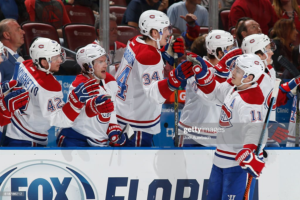 <a gi-track='captionPersonalityLinkClicked' href=/galleries/search?phrase=Brendan+Gallagher&family=editorial&specificpeople=3704208 ng-click='$event.stopPropagation()'>Brendan Gallagher</a> #11 of the Montreal Canadiens is congratulated by teammates after scoring a first period goal against the Florida Panthers at the BB&T Center on April 2, 2016 in Sunrise, Florida.
