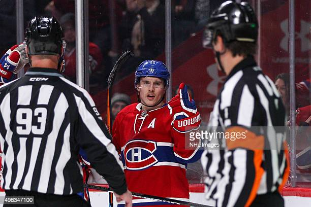 Brendan Gallagher of the Montreal Canadiens reacts as referee Wes McCauley refuses a goal in the NHL game at the Bell Centre on November 22 2015 in...